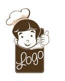 Милый маленький молодой логотип шеф-повара мальчика Стоковая Фотография