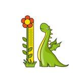Милый маленький дракон и масштаб высоты измеряя Стоковое Изображение