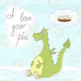 Милый маленький дракон и пирог в стиле шаржа шуточная иллюстрация Стоковая Фотография
