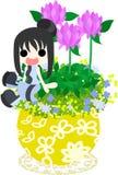 Милый маленький цветочный горшок - красный клевер Стоковые Изображения