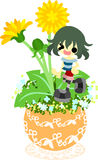 Милый маленький цветочный горшок - одуванчик Стоковое Изображение