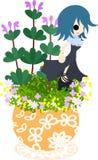 Милый маленький цветочный горшок - Henbit- Стоковое фото RF
