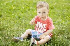 Милый малый мальчик на траве Стоковое Изображение RF