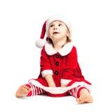 Милый малыш в шляпе Санты рождества Стоковые Фотографии RF