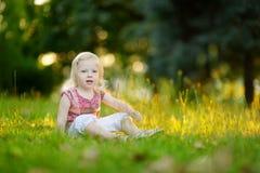 Милый малыш маленькой девочки сидя на траве Стоковое Фото