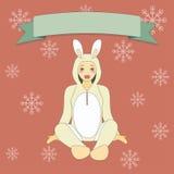 Милый мальчик в костюме кролика Стоковые Изображения RF