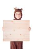 Милый мальчик в костюме медведя стоковое фото rf