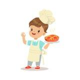 Милый мальчик держа свеже сваренную иллюстрацию вектора пирога бесплатная иллюстрация