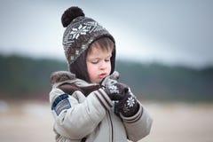 Милый мальчик имея потеху на пляже зимы стоковое изображение