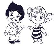 Милый мальчик и девушка шаржа с руками поднимают иллюстрацию вектора иллюстрация вектора