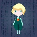 Милый мальчик и дождь стоковое изображение rf