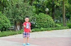 Милый мальчик маленького ребенка с оружием пузыря мыла Стоковые Фотографии RF
