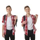 Милый мальчик подростка над предпосылкой изолированной белизной Стоковое Фото