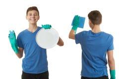 Милый мальчик подростка над предпосылкой изолированной белизной Стоковая Фотография RF
