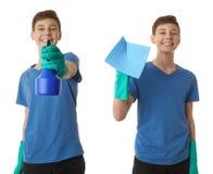 Милый мальчик подростка над предпосылкой изолированной белизной Стоковые Фото