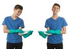 Милый мальчик подростка над предпосылкой изолированной белизной Стоковые Фотографии RF