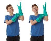 Милый мальчик подростка над предпосылкой изолированной белизной Стоковые Изображения RF