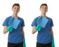 Милый мальчик подростка над предпосылкой изолированной белизной Стоковая Фотография