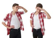 Милый мальчик подростка над предпосылкой изолированной белизной Стоковое фото RF
