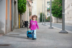 Милый мальчик с сумкой багажа Стоковая Фотография RF