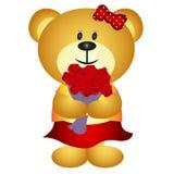 Милый медведь девушки шаржа приносит букет цветка Стоковые Изображения