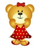 Милый медведь девушки шаржа Стоковые Изображения RF