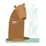 Милый медведь держа дом, с литерностью Стоковое Изображение