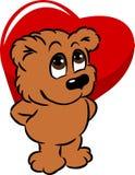 Милый медведь держа сердце Стоковые Фотографии RF