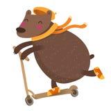 Милый медведь ехать самокат, на белизне Стоковое Изображение RF