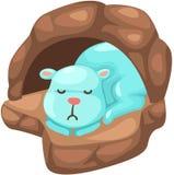 Милый медведь спать в пещере Стоковое фото RF