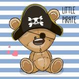 Милый медведь шаржа в шляпе пирата бесплатная иллюстрация