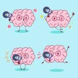 Милый микрофон взятия мозга шаржа иллюстрация штока
