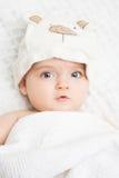 Милый младенец в конце-вверх шляпы Стоковое фото RF