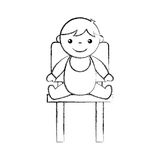 Милый младенец мальчика сидя на характере воплощения стула Стоковое фото RF