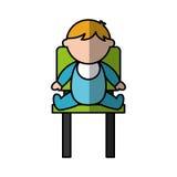 Милый младенец мальчика сидя на характере воплощения стула Стоковые Изображения