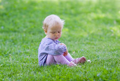Милый младенец сидя на луге Стоковая Фотография RF