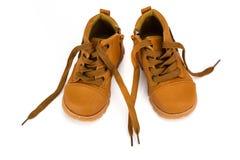 Милый младенец boots ботинки на белой предпосылке Стоковые Фото