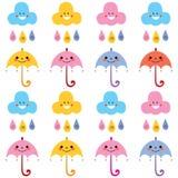 Милый образец картины характеров облаков дождевых капель зонтиков Стоковое Изображение
