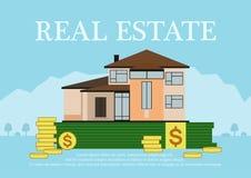 Милый дом шаржа для продажи или рента в плоском стиле здания staing на деньгах Недвижимость знака Предпосылка в голубой пастели Стоковые Изображения RF
