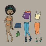 Милый одевайте бумажную куклу Шаблон, одежда и аксессуары тела также вектор иллюстрации притяжки corel Стоковые Фото