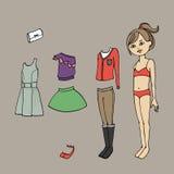 Милый одевайте бумажную куклу Шаблон, одежда и аксессуары тела также вектор иллюстрации притяжки corel Стоковая Фотография RF