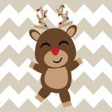 Милый олень счастлив на шарже предпосылки шеврона, открытке Xmas, обоях, и поздравительной открытке Стоковое Изображение