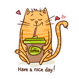 Милый перерыв на чашку кофе 2 кота Стоковое Фото