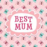 Милый персик бабочек мамы поздравительой открытки ко дню рождения дня или матерей самый лучший Стоковые Изображения RF