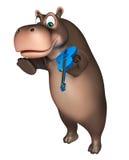 Милый персонаж из мультфильма гиппопотама с гитарой Стоковая Фотография