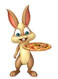 Милый персонаж из мультфильма зайчика с пиццей бесплатная иллюстрация