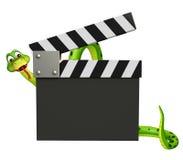 Милый персонаж из мультфильма змейки с clapboard Стоковые Изображения
