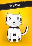 Милый персонаж из мультфильма кота, усаживание кота Стоковое фото RF