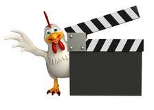 милый персонаж из мультфильма курицы с clapboard Стоковые Изображения