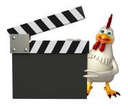 милый персонаж из мультфильма курицы с clapboard Стоковые Фотографии RF